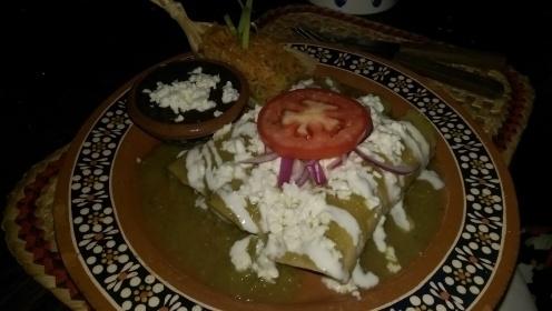 Green-chili enchiladas